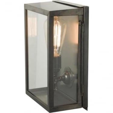 7644 Box Wall Light, Small, Internally Glazed, Weathered Brass, Clear