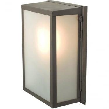 7644 Box Wall Light, Small, Internally Glazed, Weathered Brass, Frosted