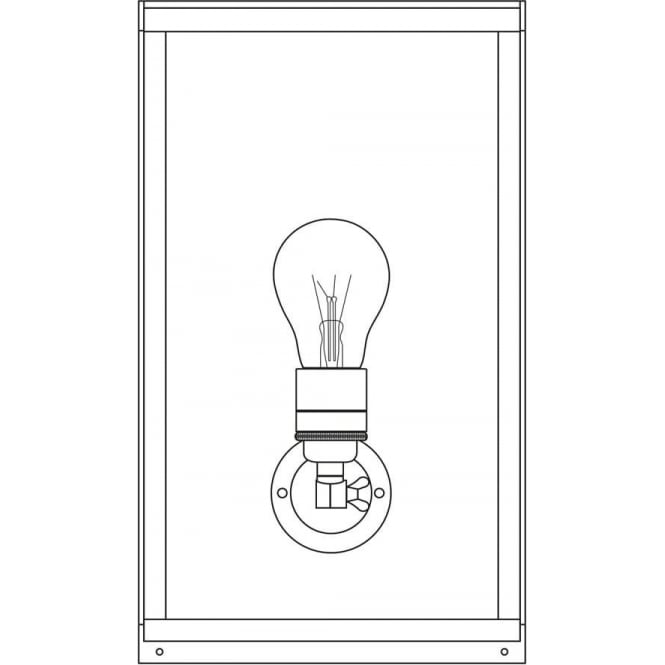 Davey Lighting 7645 Box Wall Light, Medium, Internally Glazed, Polished Brass, Clear