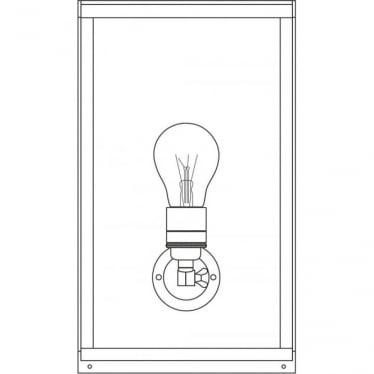 7645 Box Wall Light, Medium, Internally Glazed, Polished Nickel, Clear