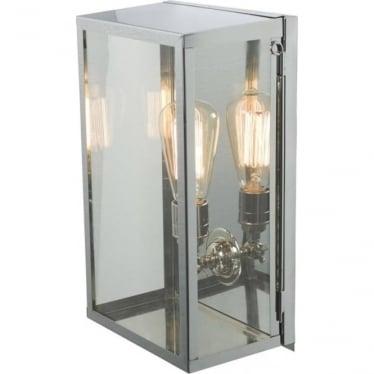 7645 Box Wall Light, Medium, Internally Glazed, Satin Nickel, Clear
