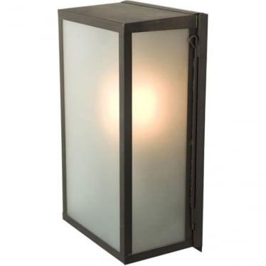 7645 Box Wall Light, Medium, Internally Glazed, Weathered Brass, Frosted