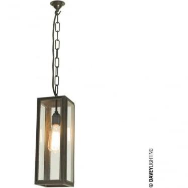 7649 Box Pendant Light, Narrow, Glazed, Weathered Brass, Clear