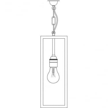 7650 Box Pendant Light, Satin Nickel, Clear
