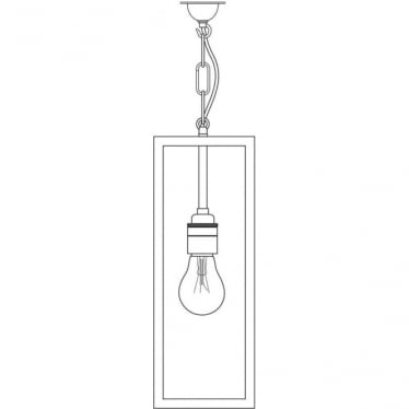 7650 Box Pendant Light, Weathered Brass, Frosted