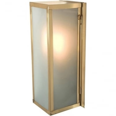 7650 Narrow Box, Internally Glazed Frosted, Polished Brass