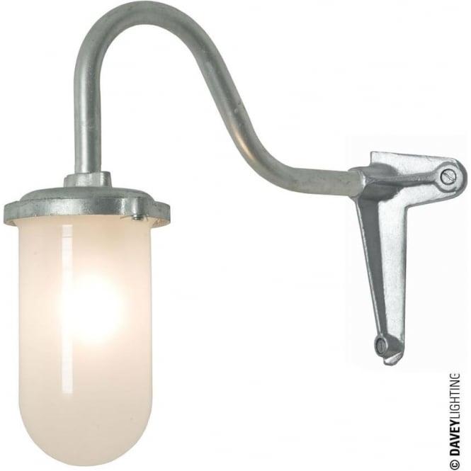 Davey Lighting 7672 Bracket Light, 100W, Corner Fork, Swan Neck, Galvanised, Frosted