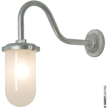 7672 Bracket Light, 100W, Round, Swan Neck, Galvanised, Frosted