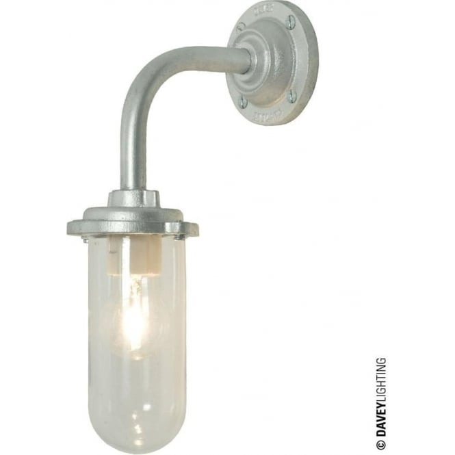 Davey Lighting 7672 Bracket Light, 60W, Round Back Plate, Galvanised, Clear