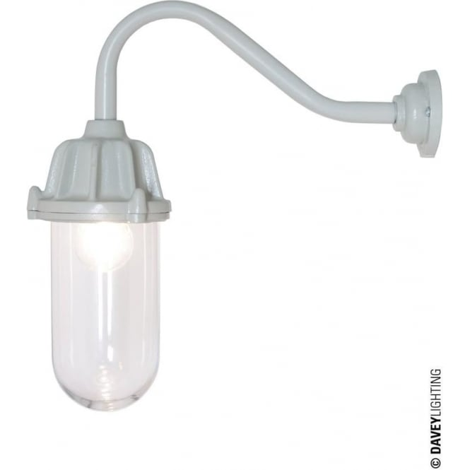 Davey Lighting 7674 Dockside Wall Light, No Reflector, Putty Grey, Clear