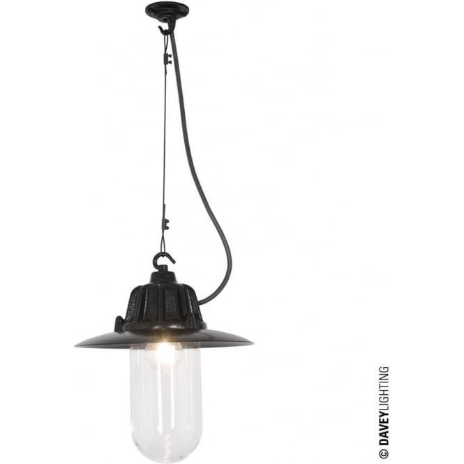Davey Lighting 7675 Dockside Pendant, With reflector, Black, Clear