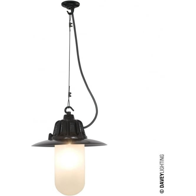Davey Lighting 7675 Dockside Pendant, With reflector, Black, Frosted