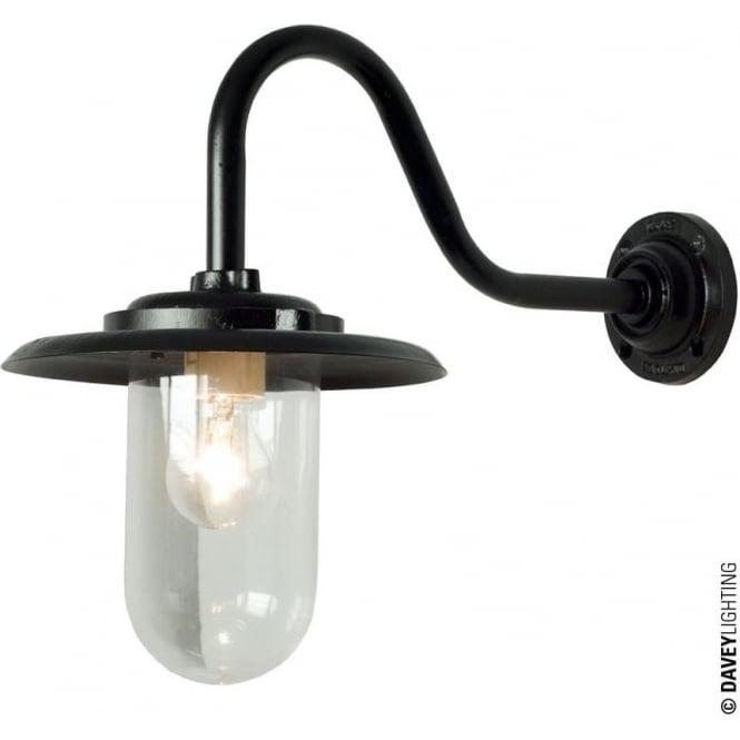 Davey Lighting 7677 Exterior bracket light, 100W, Swan Neck, Black - Clear