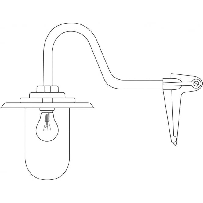 Davey Lighting 7677 Exterior bracket light, 100W, Swan Neck, Corner, Galvanised - Frosted