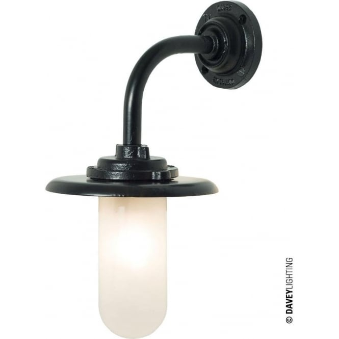 Davey Lighting 7677 Exterior Bracket Light 60W, Round Base, Painted Black, Frosted