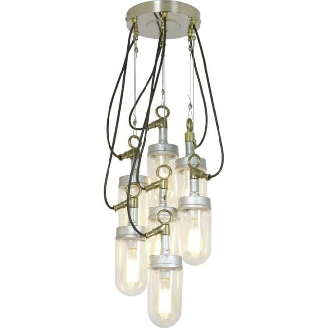 Davey Lighting 7679 Well Glass Grouping of 7 Galvanised Clear Glass
