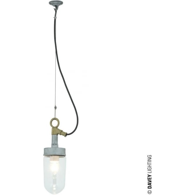 Davey Lighting 7679 Well Glass Pendant Galvanised Clear Glass