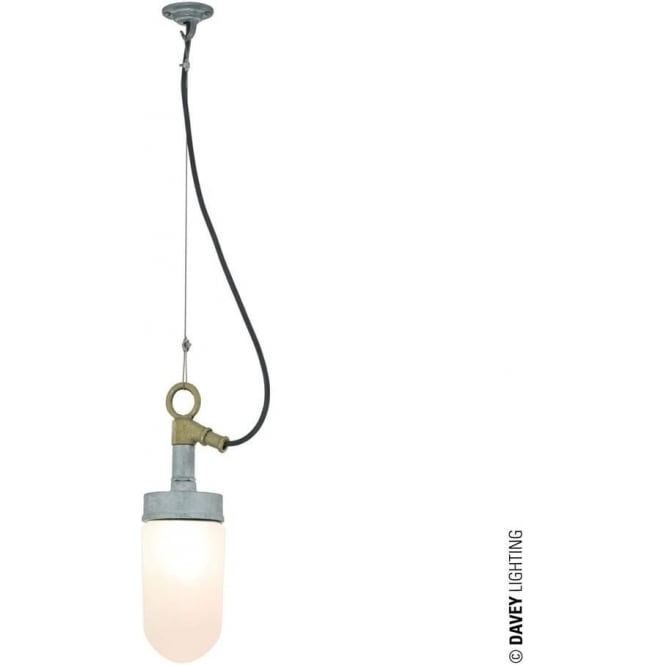 Davey Lighting 7679 Well Glass Pendant Galvanised Frosted Glass