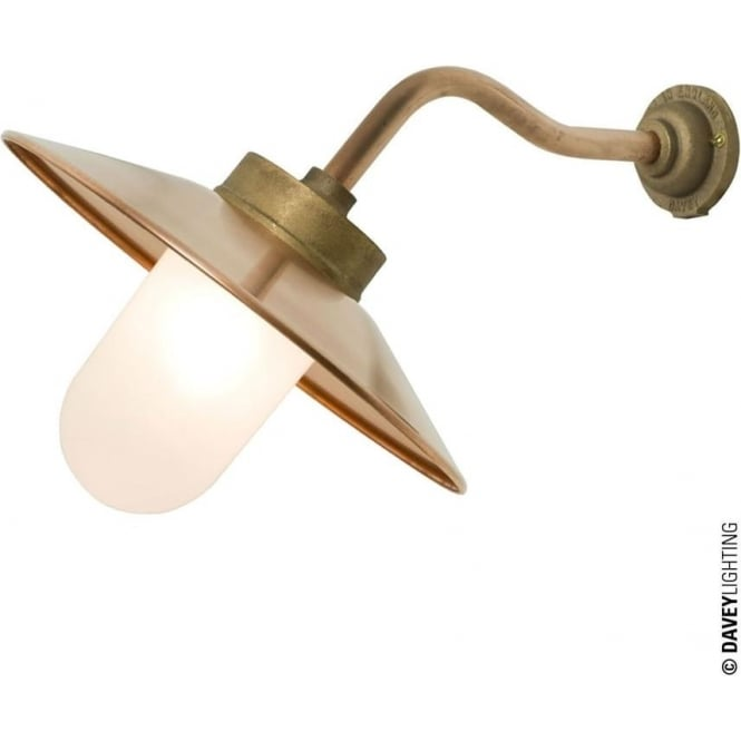 Davey Lighting 7680 Exterior Bracket Light, Canted Arm, Round Base, Gunmetal, Frosted