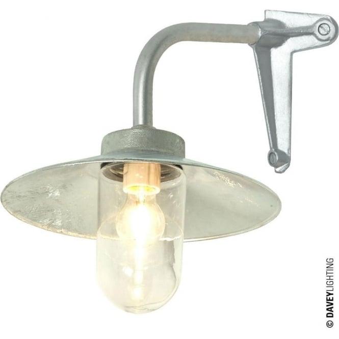 Davey Lighting 7680 Exterior Bracket Light, Right Angle, Corner Fork, Galvanised, Clear