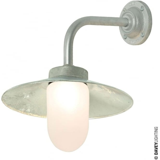 Davey Lighting 7680 Exterior Bracket Light, Right Angle, Round Base, Galvanised, Frosted
