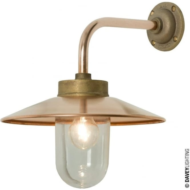 Davey Lighting 7680 Exterior Bracket Light, Right Angle, Round Base, Gunmetal, Clear