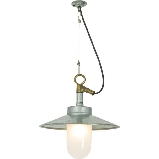 Davey Lighting 7680 Exterior Well Glass Pendant, with Visor, Galvanised, Frosted, IP44
