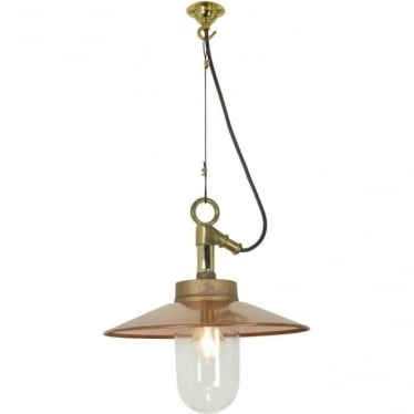 7680 Exterior Well Glass Pendant, with Visor, Gunmetal, Clear, IP44