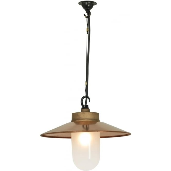 Davey Lighting 7680 Well Glass Pendant, With Visor, Gunmetal, Frosted Glass