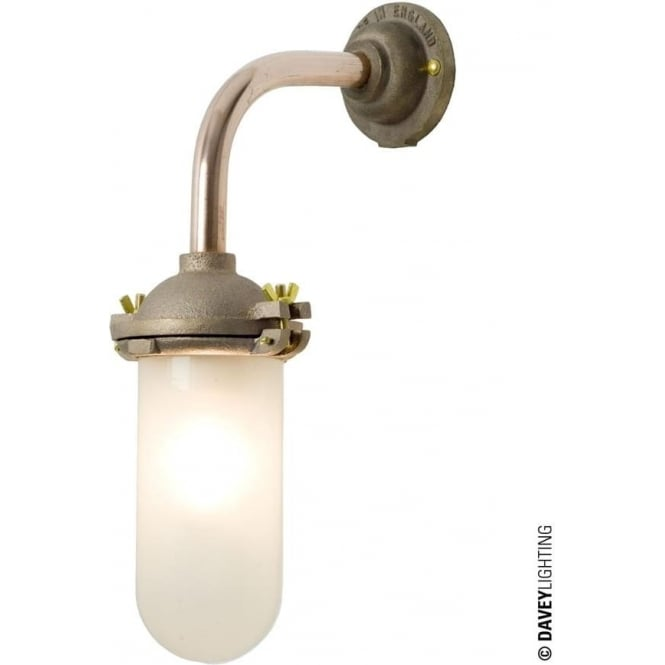 Davey Lighting 7684 Exterior Bracket Light, No Reflector, Right Angle, Round Base, Gunmetal, Frosted