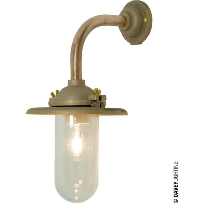 Davey Lighting 7685 Exterior Bracket Light, Reflector, Right Angle Arm, Round Base, Gunmetal, Clear