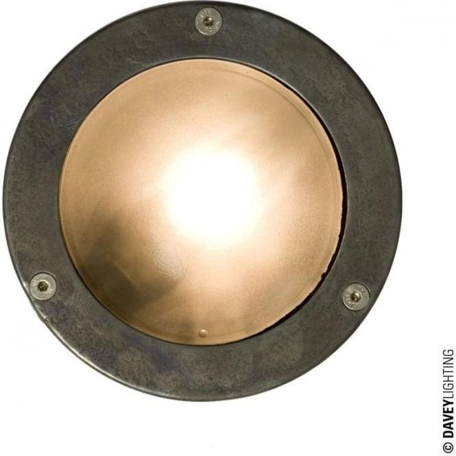 Davey Lighting 8034 Miniature Round Bulkhead, Plain Bezel, GX53, Weathered Brass