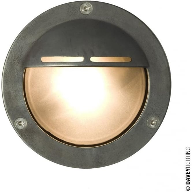 Davey Lighting 8035 Miniature Round Bulkhead, Eyelid Shield, GX53, Weathered Brass