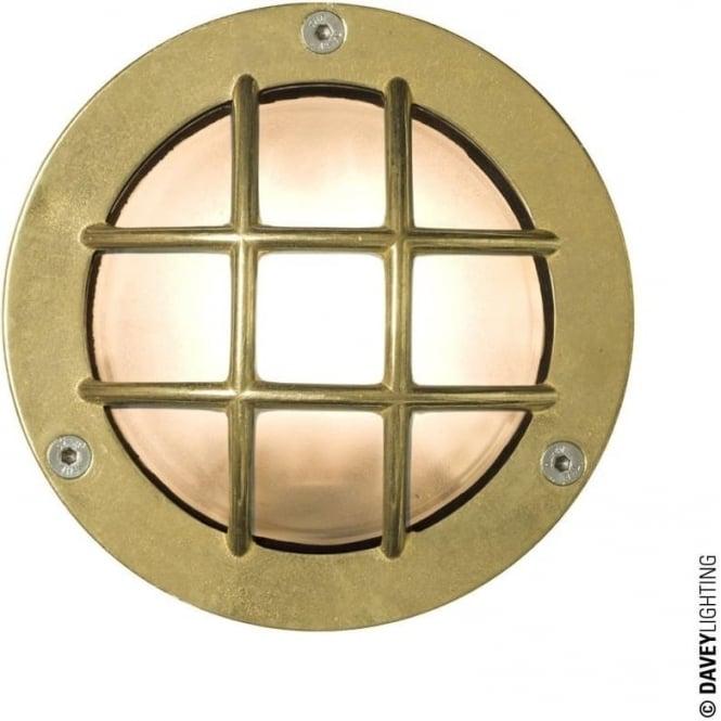 Davey Lighting 8038 Miniature Round Bulkhead, Cross Guard, G9, Brass