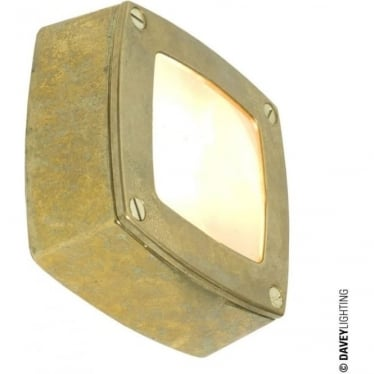 8139 Wall, Ceiling or Step Light, Square, Plain Bezel, Brass