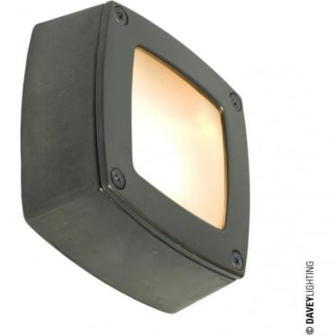 8139 Wall, Ceiling or Step Light, Square, Plain Bezel, Weathered Brass