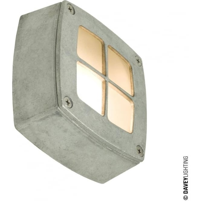Davey Lighting 8140 Wall, Ceiling or Step Light, Square, Cross Guard, Aluminium
