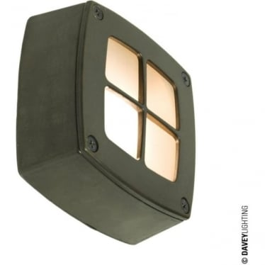 8140 Wall, Ceiling or Step Light, Square, Cross Guard, Weathered Brass