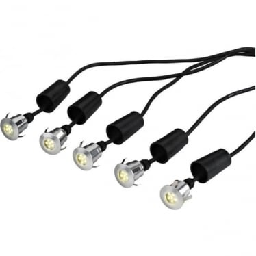 Derwent 5, 5 x deck/garden lights, 6m cable and 12V Transformer - Anodised Aluminium