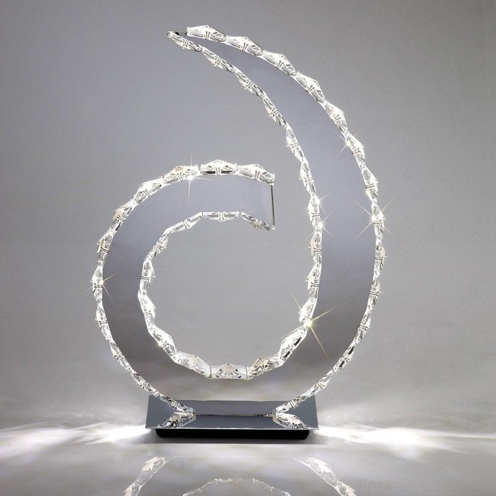 Diyas Galaxy Table Lamp D Shape Light 18 X 0 5W LED - Polished  Chrome/Crystal 6000K