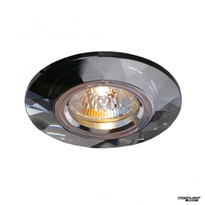 Diyas Recessed Chamfered Round Downlights - Black Crystal