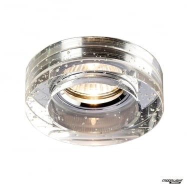 Recessed Round Downlight With Bubbles - Clear Crystal