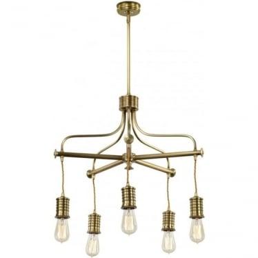 Douille 5 Light Chandelier Aged Brass