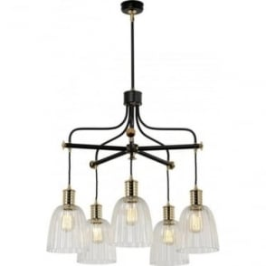 Douille 5 Light Chandelier Black/Polished Brass