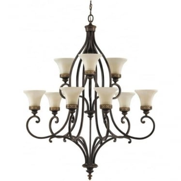 Drawing Room 9 Light Chandelier Walnut