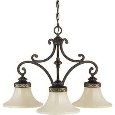Drawing Room Down 3 Light Chandelier Walnut
