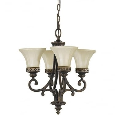 Drawing Room Duo-Mount 4 Light Chandelier Walnut