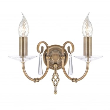 Aegean 2 Light Wall Fitting - Aged Brass