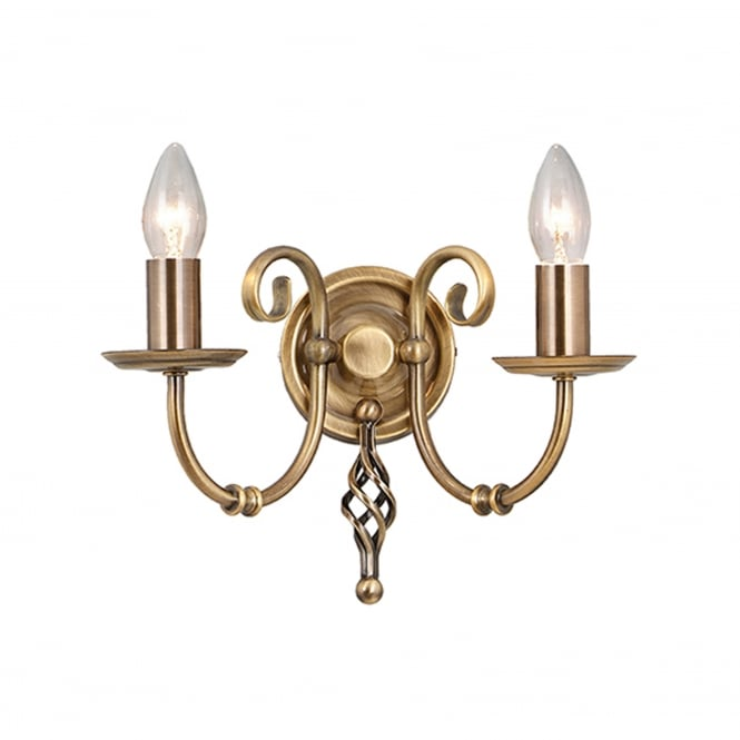 Elstead Lighting Artisan 2 Light Wall Fitting - Aged Brass