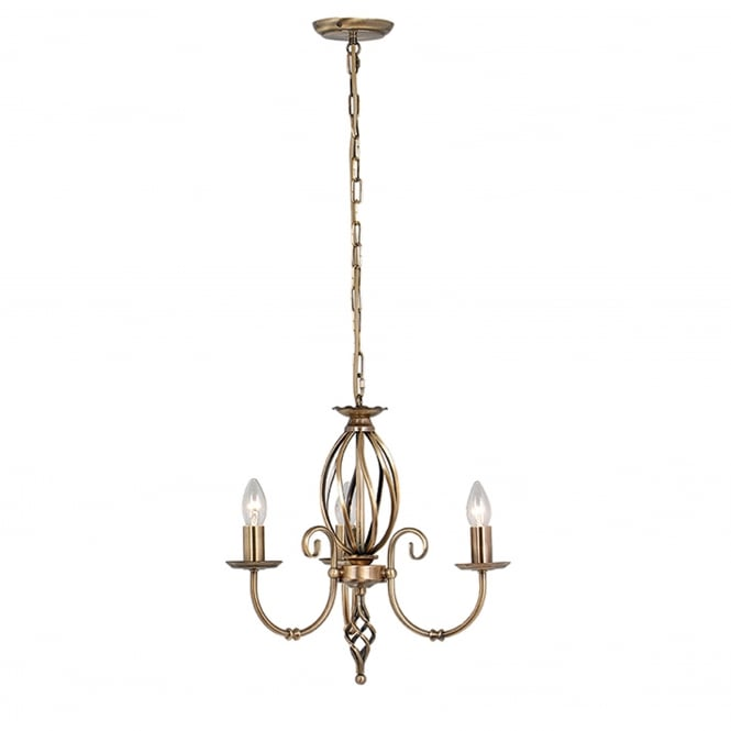 Elstead Lighting Artisan 3 Light Chandelier - Aged Brass